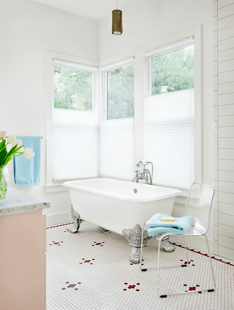 How to Insulate Windows for Winter with Beach Style Bathroom  and Corner Windows Hexagonal Floor Tile Silver Clawfeet
