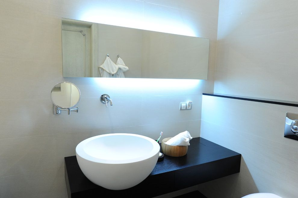 How to Light a Bowl with Contemporary Bathroom Also Backlighting Bathroom Mirror Cosmetics Mirror Floating Vanity Ledge Minimal Shelf Vessel Sink Wall Mount Faucet