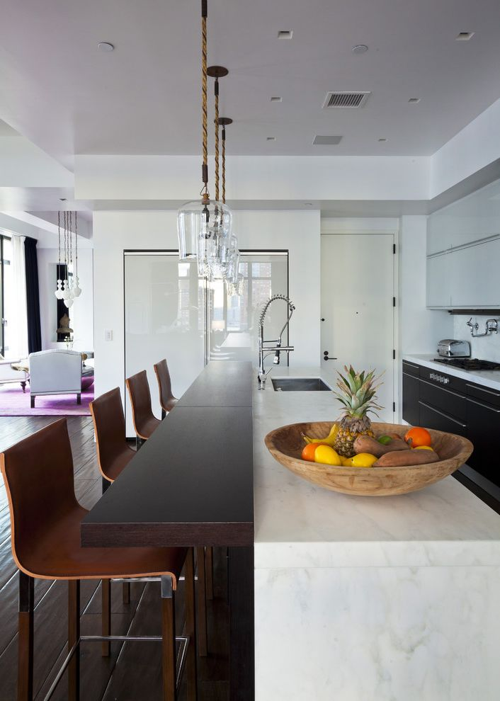 How to Light a Bowl with Contemporary Kitchen Also Ceiling Lighting Dark Floor Fruit Bowl Island Lighting Open Kitchen Pendant Lighting Recessed Lighting Waterfall Counters White Kitchen Wood Countertops
