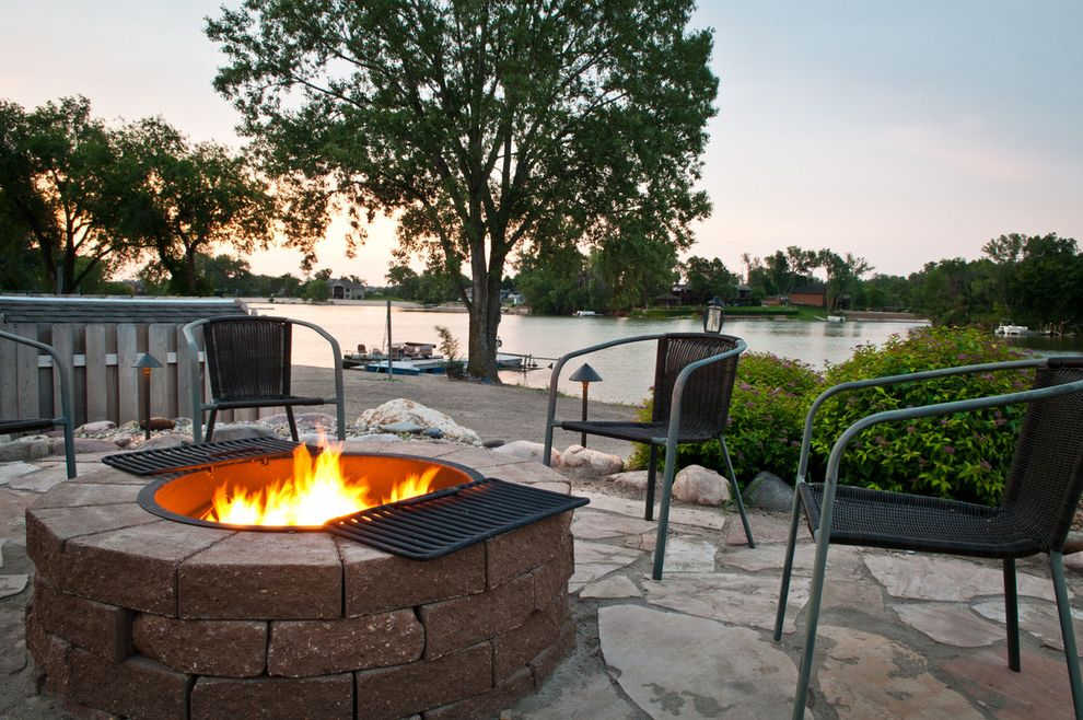 How to Make a Propane Fire Pit   Contemporary Landscape  and Beach Dock Fence Firepit Flagstone Grill Mature Trees Outdoor Entertaining Outdoor Seating Waterview