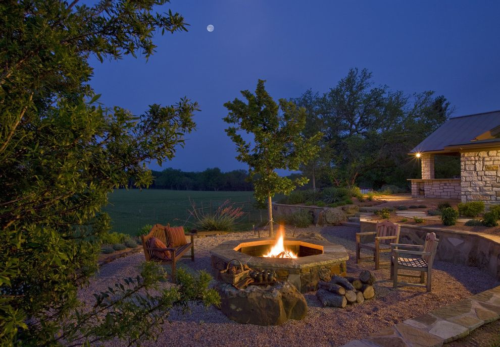 How to Make a Propane Fire Pit   Traditional Landscape Also Backyard Fire Pit Garden Bench Gravel Night Patio Furniture Seat Wall Stacked Stone Stone Wall