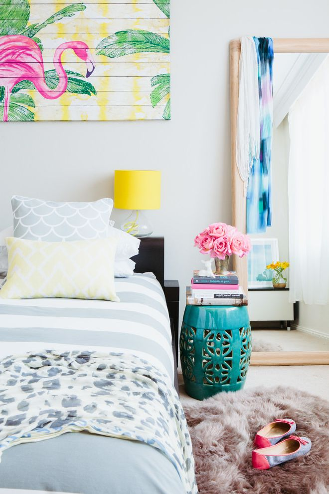 How to Make Your Bedroom Cozy with Beach Style Bedroom  and Apartment Beach Coastal Garden Stool Pink Flamingo Styling