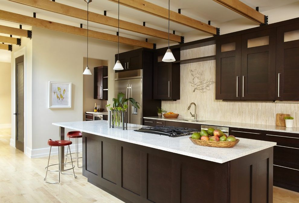 How to Measure for Cabinets   Contemporary Kitchen  and Breakfast Bar Dark Wood Cabinets Eat in Kitchen Exposed Beams Island Lighting Kitchen Island Neutral Colors Pendant Lighting Shaker Style Stainless Steel Appliances Wood Flooring