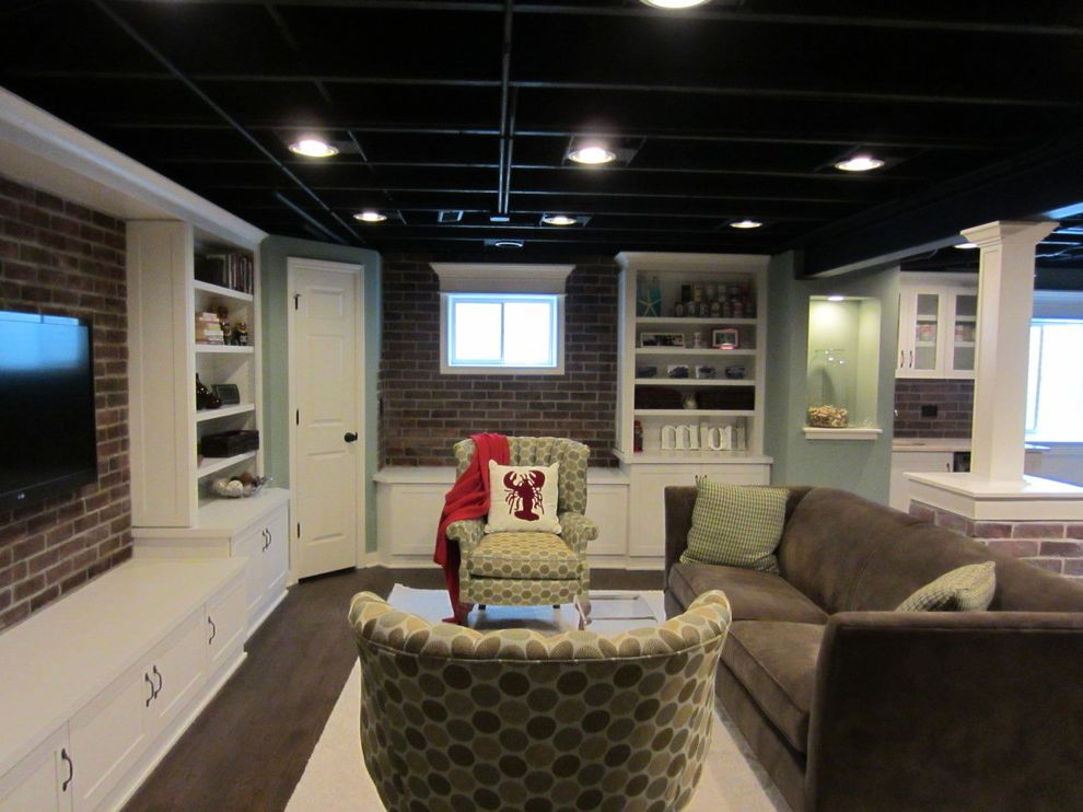 How to Paint Basement Ceiling   Eclectic Family Room Also Basement Blue Brick Butlers Pantry Family Room Unfinished Ceiling White Wood Floor