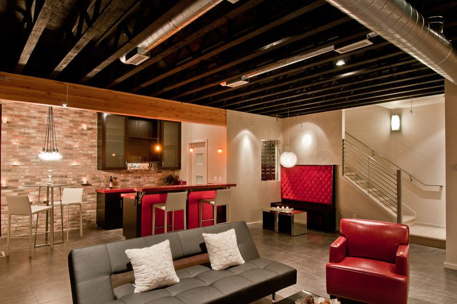 How to Paint Basement Ceiling   Modern Home Theater Also Modern