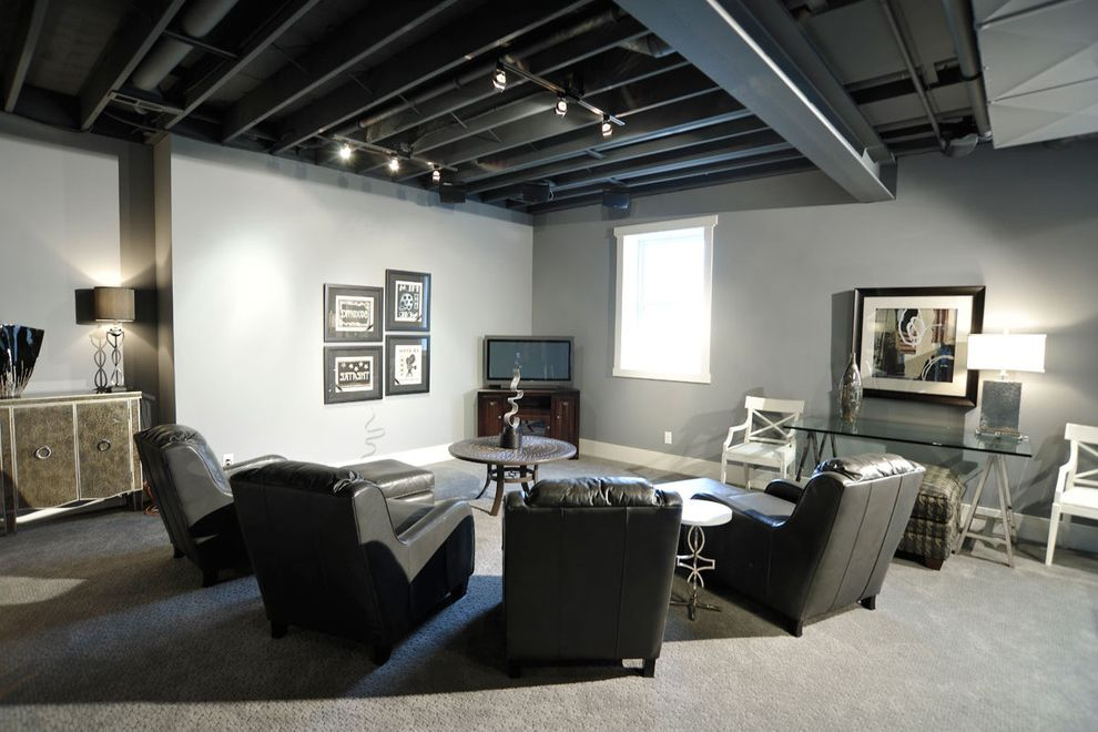 How to Paint Basement Ceiling with Contemporary Family Room  and Contemporary