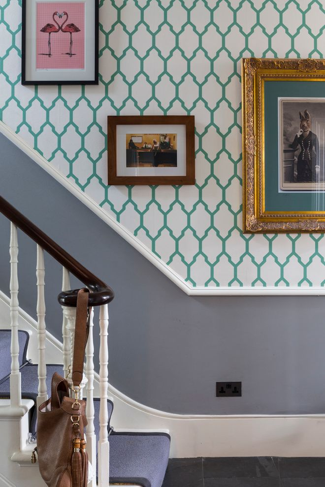 How to Paint Over Wallpaper   Contemporary Staircase  and Bold Colours Colour Design Grey Runner Interior Design Interiors London Patterned Wallpaper Photography Picture Frames Space Stiarcase Style