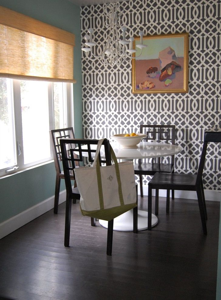 How to Paint Over Wallpaper   Transitional Dining Room Also Transitional
