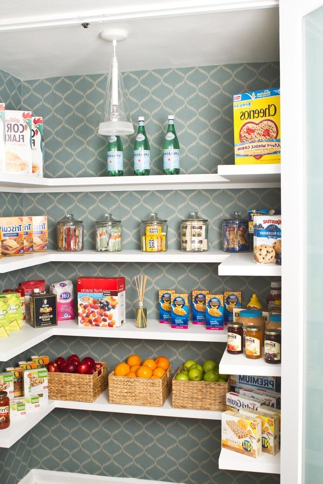 How to Paint Over Wallpaper   Transitional Kitchen  and Basket Storage Flos Food Storage Frosted Glass Fruit Baskets Keyed Shelves Modern Food Storage Modern Pantry Open Shelves Pantry Pendant Light Storage Walk in Pantry Wallpaper White Shelves