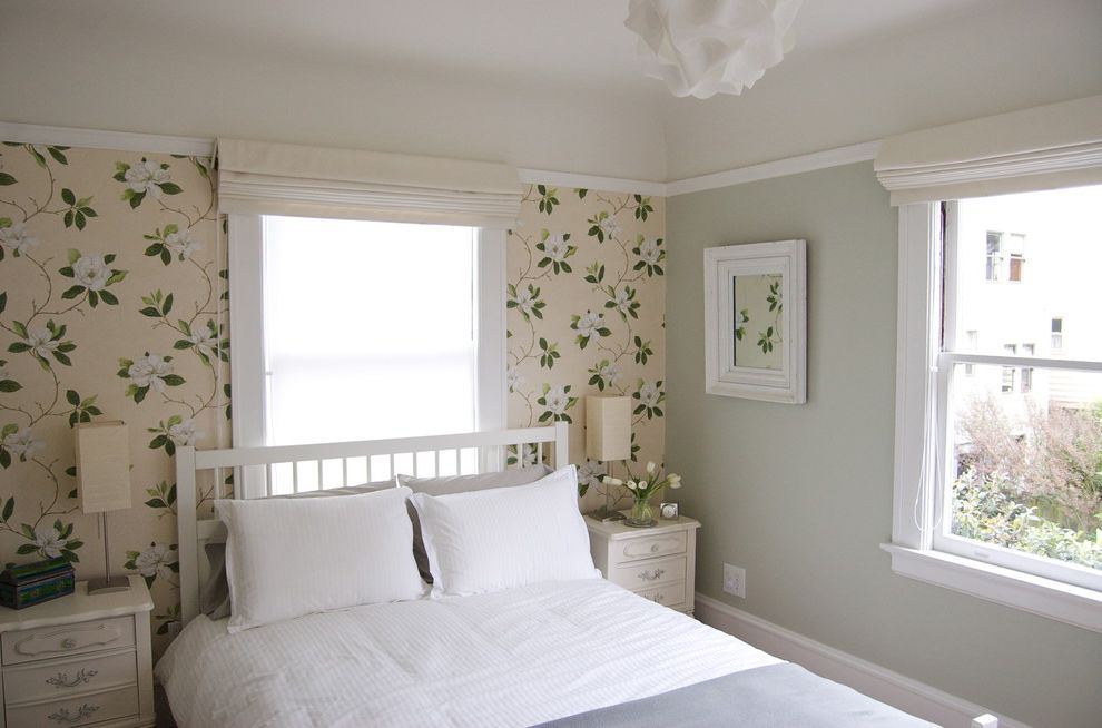 How to Paint Over Wallpaper with Contemporary Bedroom Also Accent Wall Bedside Table Chest of Drawers Dresser Floral Wallpaper Neutral Colors Nightstand Roman Shades Wall Art Wall Decor White Bed White Bedding White Wood Window Treatments Wood Molding