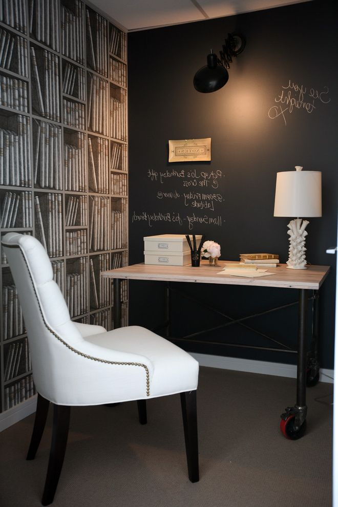 How to Paint Over Wallpaper with Traditional Home Office Also Black Board Chalk Wall Office Office Supplies Organizational Rolling Desk Wallpaper White Chair White Lamp