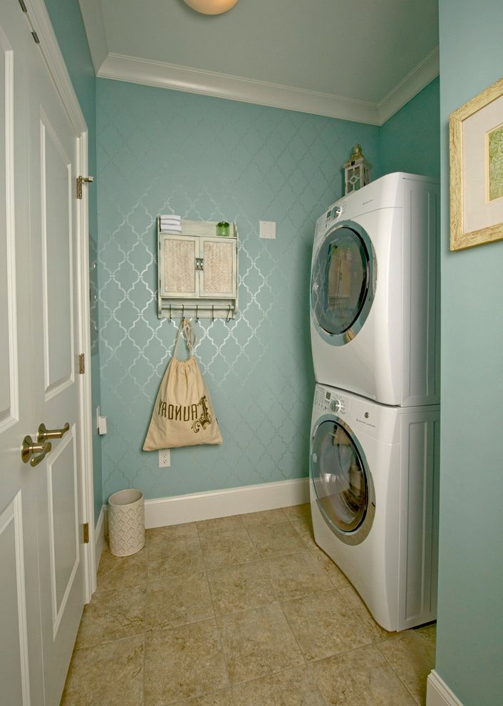 How to Paint Over Wallpaper with Traditional Laundry Room  and Beige Floor Tile Decorative Painting Hand Painted Stencil Lattice Metallic Pearl Moroccan Style Tranquil