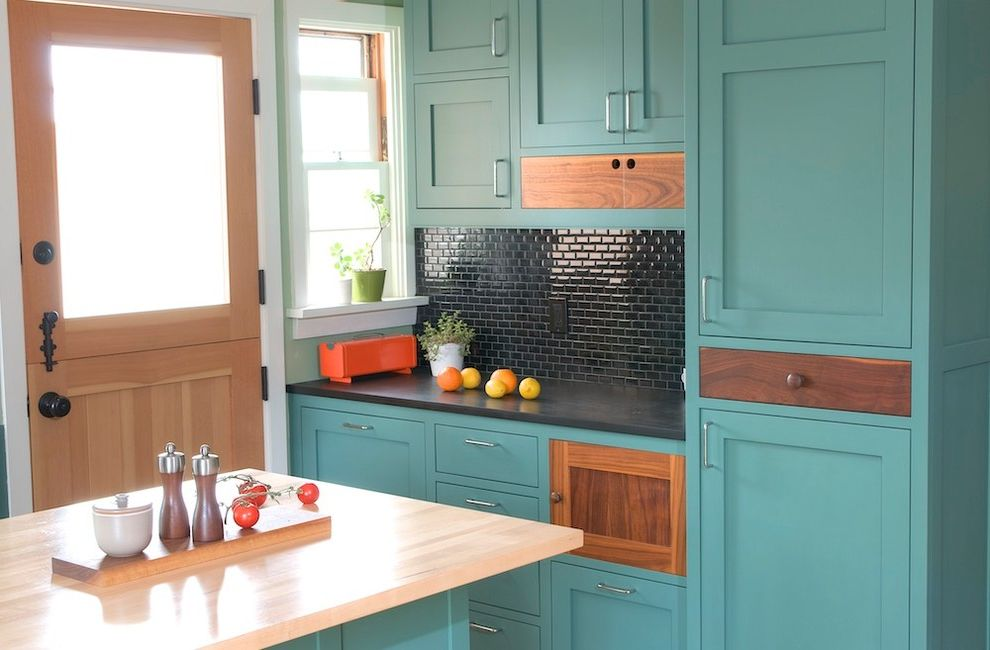 How to Prep Cabinets for Painting   Contemporary Kitchen Also Aqua Cabinets Black Countertop Black Tile Backsplash Color Contrast Contemporary Dutch Door Mixed Cabinets Modern Hardware Shaker Cabinets Teal Transitional Wood Counter