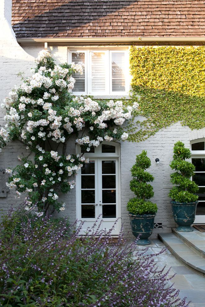 How to Prune Knockout Roses with Traditional Landscape  and Arched Door Brick Brick House Cottage Estate French Door Plants Romantic Roses Shingle Roof Urn White Brick