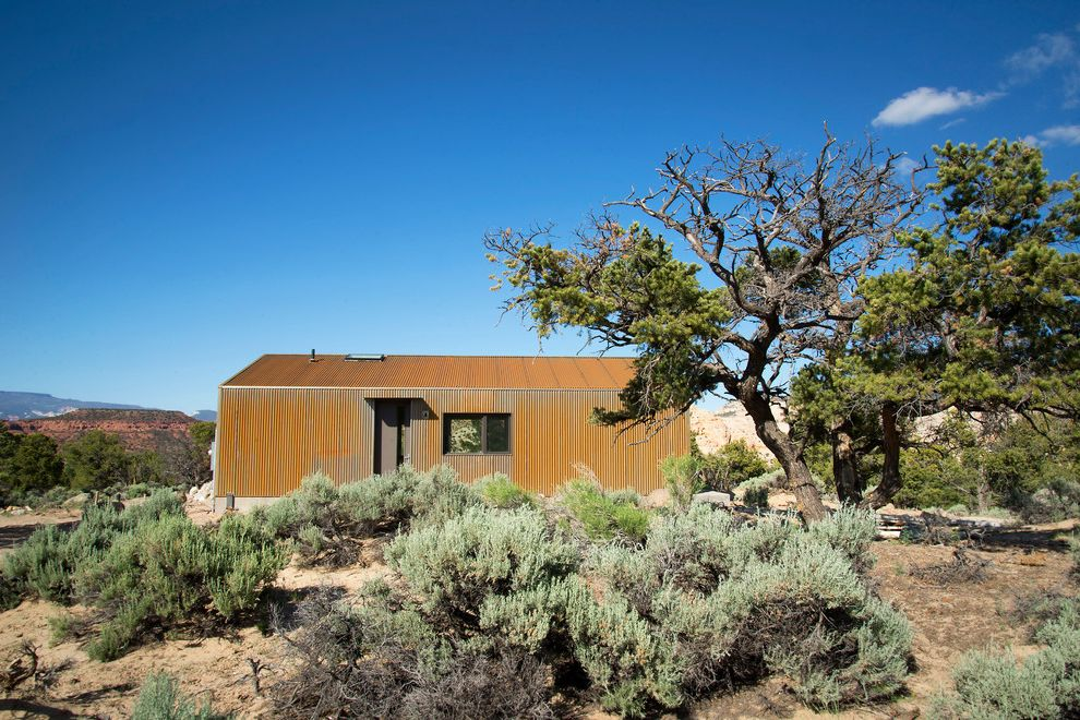 How to Remove Foam Insulation   Industrial Exterior  and A606 Corrugated Metal Corrugated Metal Siding Corten Corten Steel Desert Desert Architecture Framed View Juniper Modern Rusted Metal Rustic Sand Shed Roof Views