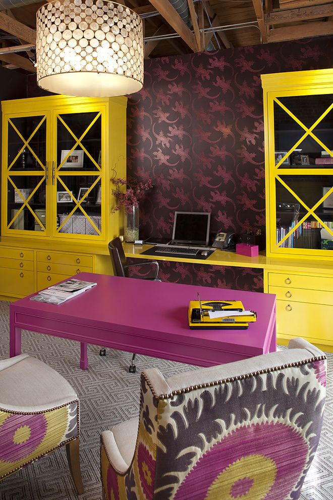 How to Spray Paint Metal Furniture with Contemporary Home Office and Armchair Bookcase Bookshelves Carpet Ceiling Light Chair Chandelier Color Desk Pink Pink Desk Pink Table Wallpaper Yellow Yellow Bookcase Yellow Desk