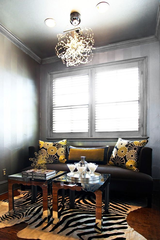 How to Spray Paint Metal Furniture with Contemporary Living Room and Crown Molding Decorative Pillows Metallic Paint Mirrored Furniture Modern Light Fixture Painted Ceiling Painted Molding Throw Pillows Window Sheers Zebra Skin Rug