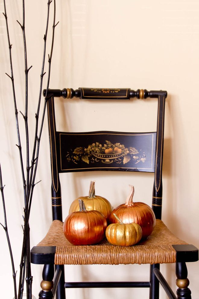 How to Spray Paint Metal Furniture with Eclectic Dining Room and Antique Chair Halloween Metallic Pumpkin Pumpkins
