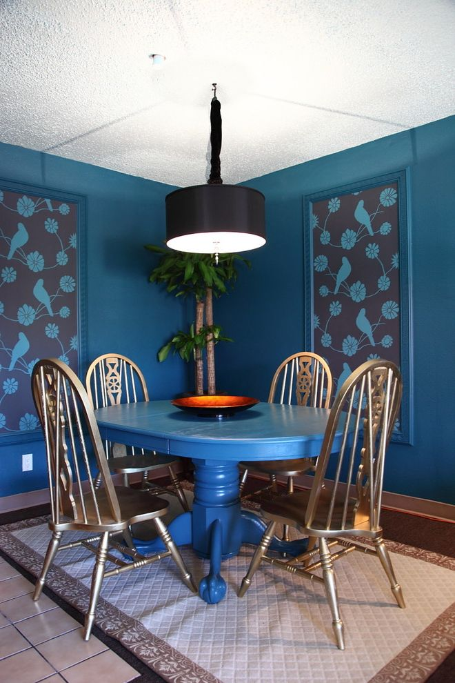 How to Spray Paint Metal Furniture with Eclectic Dining Room and Bedroom Birds Blue Blue Table Budget Color Drum Shade Efficiency Framed Wallpaper Gold Chais Pedestal Table Pendant Light Regency Studio Wood Chairs Wood Dining Table