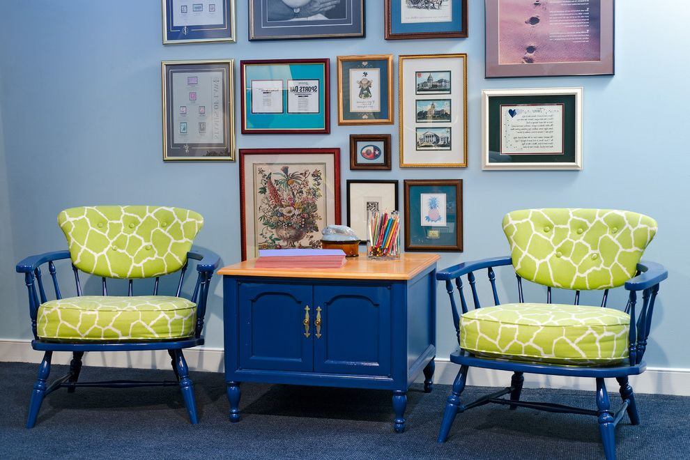 How to Spray Paint Metal Furniture with Traditional Family Room and Art Arrangements Blue Walls Carpeting Framed Artwork Framed Prints Green Upholstery Lime Green and Bright Blue Painted Furniture Spindle Chairs White Baseboard