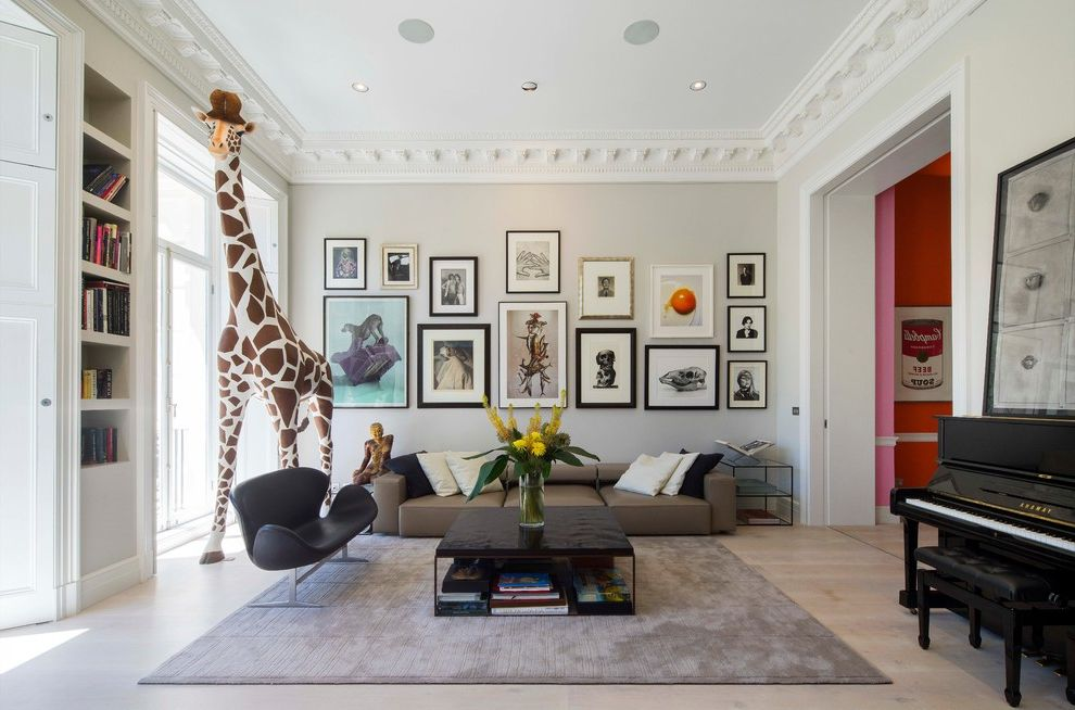 How to Take Professional Pictures with Transitional Living Room  and Area Rug Armchair Artwork Built in Shelves Coffee Table Cornice Gallery Wall Georgian Giraffe Photo Gallery Piano Picture Frames Picture Wall Sofa