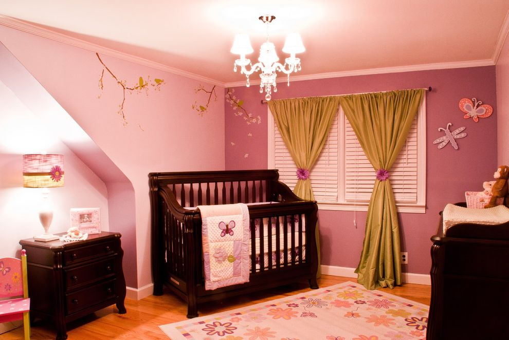 How to Tie Curtains   Contemporary Nursery Also Area Rug Butterflies Chandelier Changing Table Crib Pink Quit Wall Decal Window Treatment