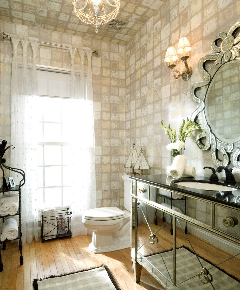 How to Tie Curtains with Eclectic Bathroom Also Chandelier Tagre Granite Sink Mirrored Vanity Sheer Drapery Panels Venetian Mirror Wall Sconce Wallcovering Window Treatment Wood Floor