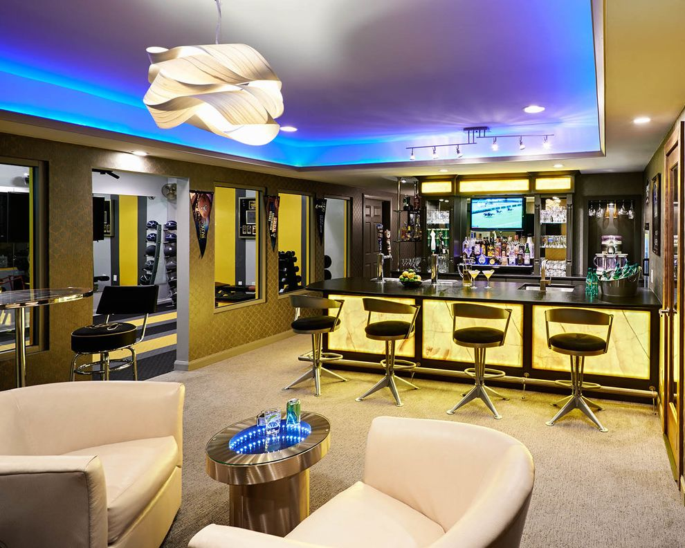 How to Wire Led Light Bar with Contemporary Basement Also Back Lit Onyx Bar Basement Remodel Beige Carpet Black Countertops Cove Lighting Home Bar Home Sports Bar Leather Armchairs Led Lighting Mood Lighting Perlick Kegerator