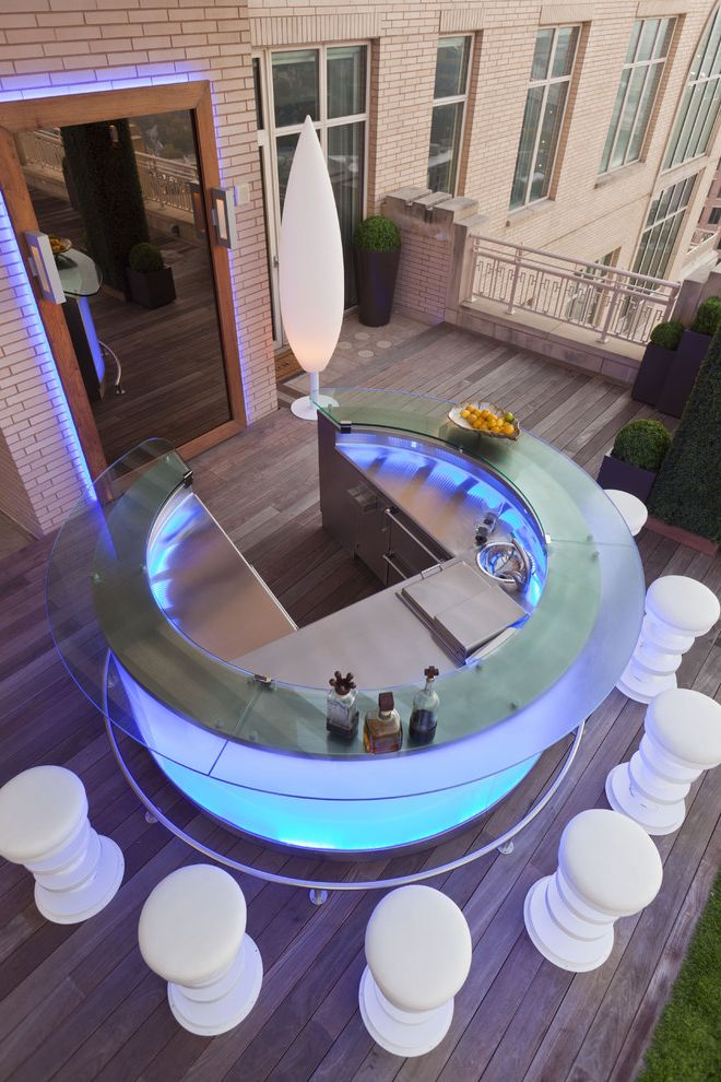 How to Wire Led Light Bar with Contemporary Deck  and Ambient Lighting Counter Stools Curved Counter Lamp Lounge Outdoor Seating Potted Plants Rooftop Round Bar Topiary