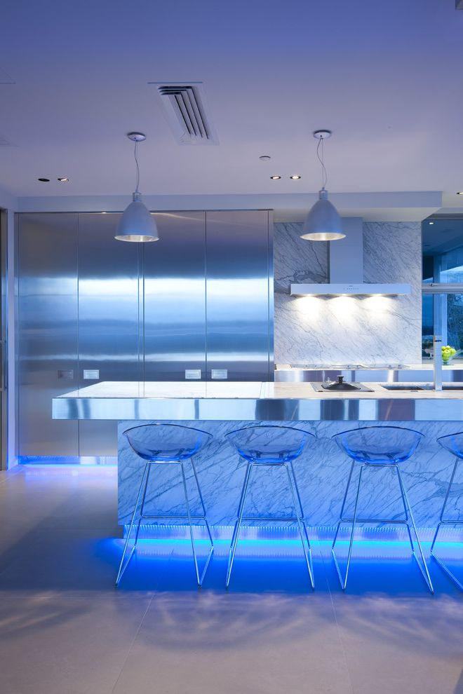 How to Wire Led Light Bar with Contemporary Kitchen  and Breakfast Bar Led Liighting Lucite Marble Backsplash Marble Counter Modern Barstools Modern Kitchen Pendant Light Range Hood Stainless Steel Appliances Stainless Steel Marble