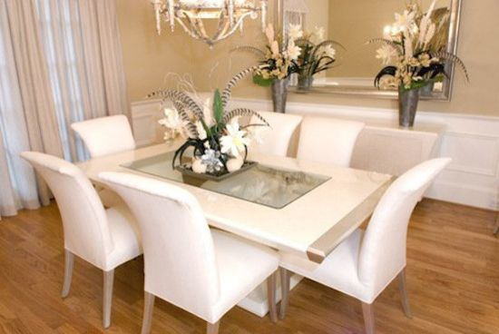 Huff Furniture    Dining Room  and Beige Walls Beige Window Drapes Hardwood Floors White Dining Chairs White Dining Table White Wainscoting Wood Floors