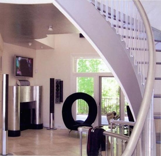 Huff Furniture with  Staircase Also Metal Staircase Railing Modern House Modern Staircase Whiete Door Frame White Walls White Window Trim Winding Staircase