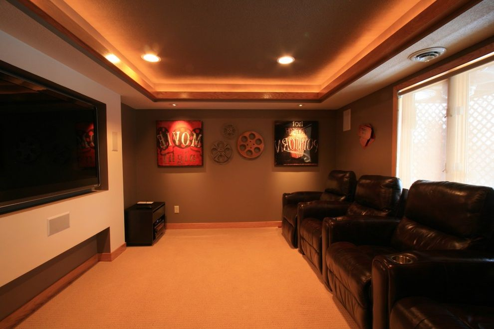 Hughes Brothers Theater   Traditional Basement  and Basement Mancave Theater
