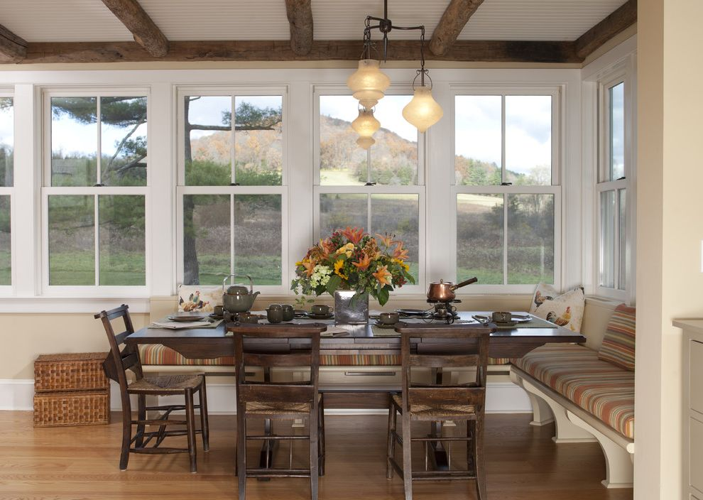 Hunt Country Furniture   Traditional Dining Room  and Bench Breakfast Nook Built in Bench Centerpiece Chandelier Farmhouse French Windows Modern Farmhouse Rustic Chair Rustic Table Rustic Wood Beams Sunroom Wood Beams Wood Chair Wood Table Wooden Chairs
