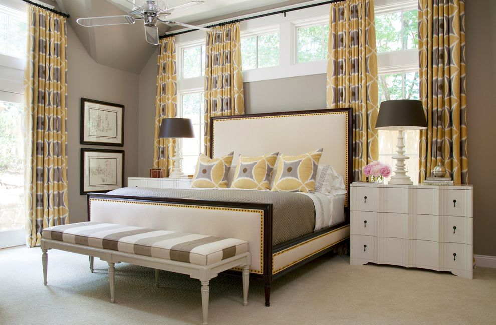Hunter Fan Warranty   Transitional Bedroom  and Bedding Bench Ceiling Fan Curtains Framed Art Lamps Night Stands Windows Yellow Accents