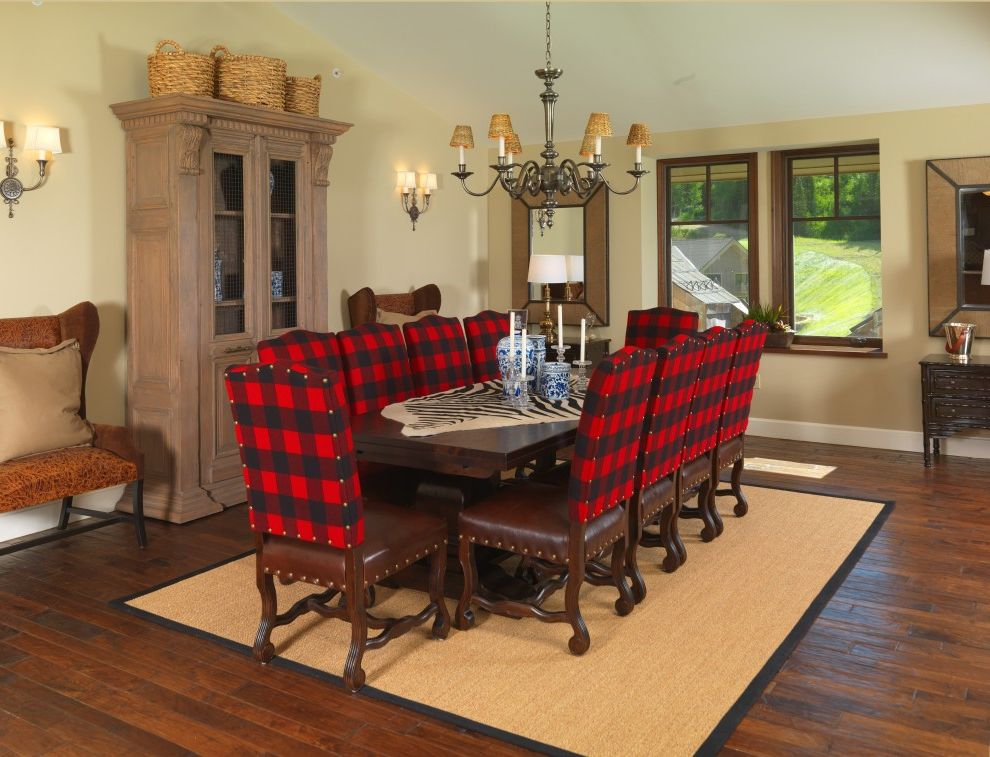 Hutches Buffalo   Traditional Dining Room Also Buffalo Plaid Carved Wood Cabinet Chandelier Hemp Jute Leather Nail Head Trim Round Woven Baskets Seagrass Sisal Stained Wood Floor Wing Bench Woven Rug