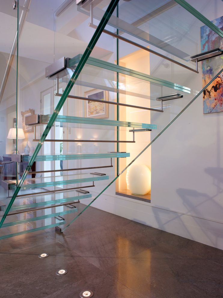 Hvac Charleston Wv with Contemporary Staircase  and Clear Staircase Floor Lighting Gallery Glass Railing Glass Staircase Niche Sculpture White Walls