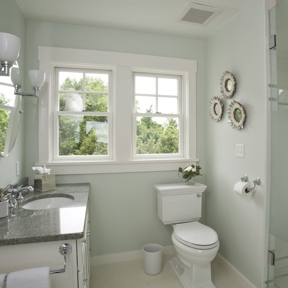 Hy C Company   Beach Style Bathroom  and Baseboard Bath Accessories Bathroom Lighting Beachy Clean Counter Countertop Double Hung Windows Mirror Sconce Seafoam Shells Stainless Steel Toilet Wall Art Wall Decor White White Bathroom White Wood Wood Molding
