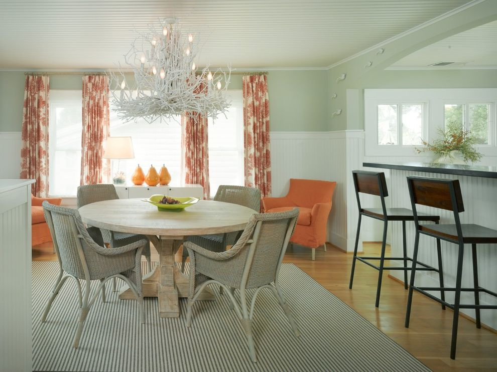 Hy C Company   Beach Style Dining Room  and Aging in Place Armchair Bar Stools Bead Board Ceiling Blue Walls Curtains Modern Chandelier Orange Round Dining Table Striped Rug White Wainscot Bead Board Wicker Chairs