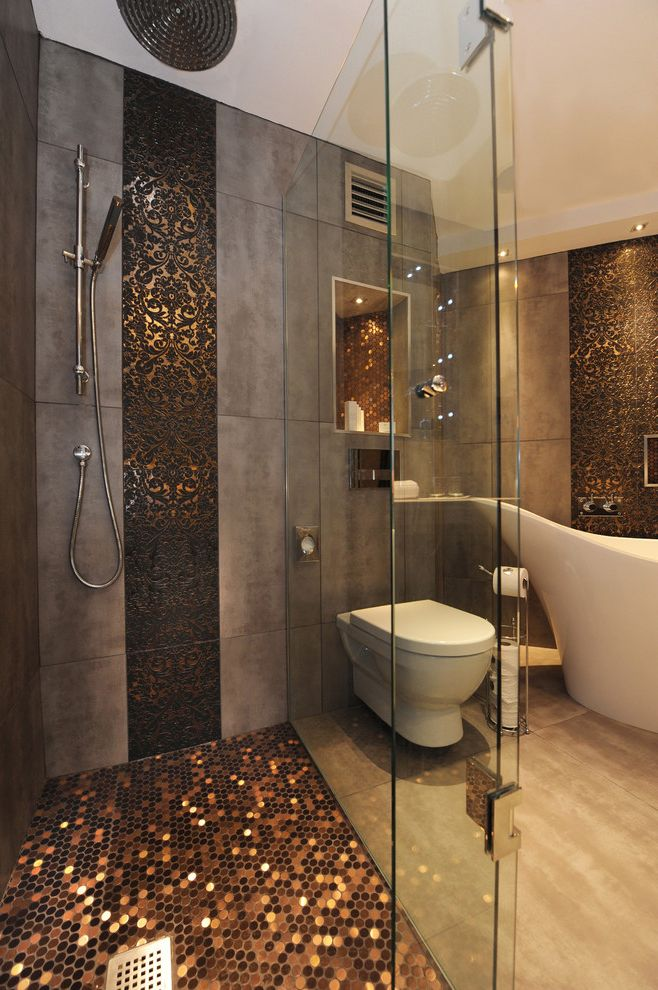 Hy C Company   Contemporary Bathroom  and Accent Tiles Ceiling Lighting Copper Damask Freestanding Tub Glass Shower Enclosure Mosaic Tiles Penny Tiles Rain Shower Head Recessed Lighting Tile Flooring