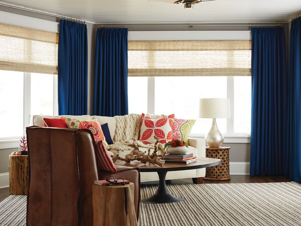 Hy C Company with Contemporary Living Room  and Bamboo Shades Beige Rug Blue Panel Drapes Custom Throw Pillows Drapes Family Room Valance Woven Wood Shades