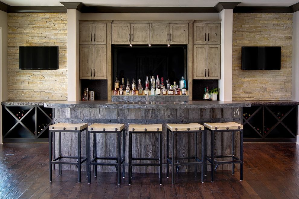 Ice Bin for Bar   Rustic Home Bar Also Diamond Bin Wine Storage Distressed Wood Cabinet Kitchen Sink in Bar Rustic Basement Bar Rustic Modern Seated Bar Stacked Stone Wall Wall Mounted Tv