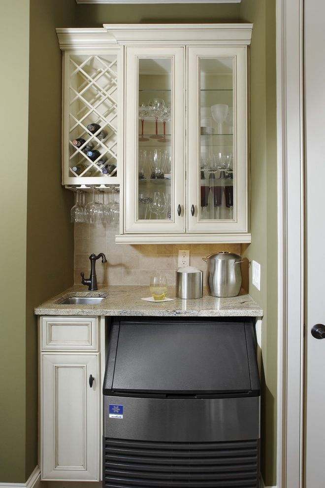 Ice Bin for Bar   Traditional Kitchen Also Barware Glass Front Cabinets Green Cabinets Green Walls Ice Machine Tile Backsplash White Cabinets White Wood Wine Glass Storage Wine Racks Wine Storage Wood Cabinets Wood Trim