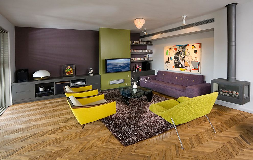 Icon at Dulles with Midcentury Living Room Also Built Ins Eggplant Green Herringbone Media Cabinet Modern Art Modern Painting Noguchi Coffee Table Purple Sofa Tufted Womb Chair Woodstove Yellow Chair