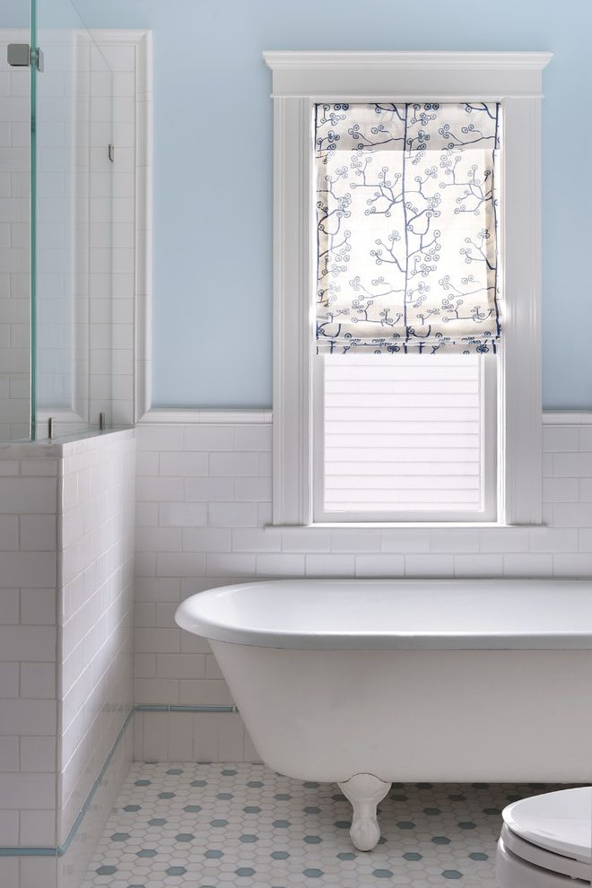 Ideal Tile Newton   Traditional Bathroom Also Blue and White Roman Shade Hexagonal Floor Tile