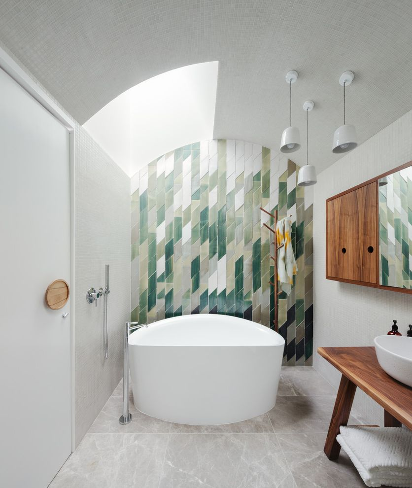 Ideal Tile Newton with Contemporary Bathroom  and Bathtubs Contemporary Bathroom Contemporary Bathroom Design Globe Pendant Light Green and White Green Tiles Handmade Tiles Modern Tile Skylight Tiles