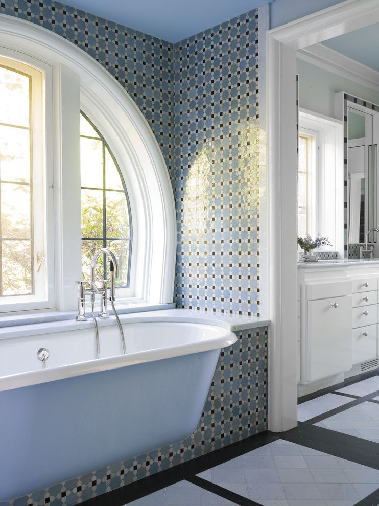 Ideal Tile Newton with Traditional Bathroom  and Alcove Arched Windows Built in Tub Casement Windows Floor Tile Design Mosaic Tile Niche Periwinkle White Wood Wood Molding