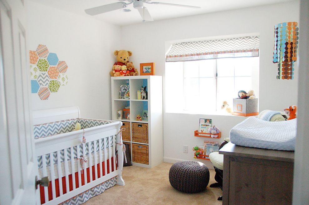 Ikea Gulliver Crib   Contemporary Nursery  and Baby Room Baby Toys Bookshelves Carpeting Ceiling Fan Changing Pad Chevron Crib Dresser Glider Mobile Nursery Orange Pouf Silver Framed Prints Valance Wall Art