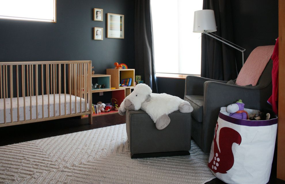 Ikea Gulliver Crib   Modern Kids  and 3 Sprouts Dark Walls Ikea Curtains Ikea Gulliver Crib Monte Luca Glider Toy Boxes West Elm Chevron Rug