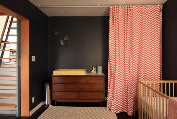 Ikea Gulliver Crib   Modern Kids  and Changing Table Chevron Curtains Coral Dark Walls Ikea Gulliver Crib Vintage Dresser West Elm Rug